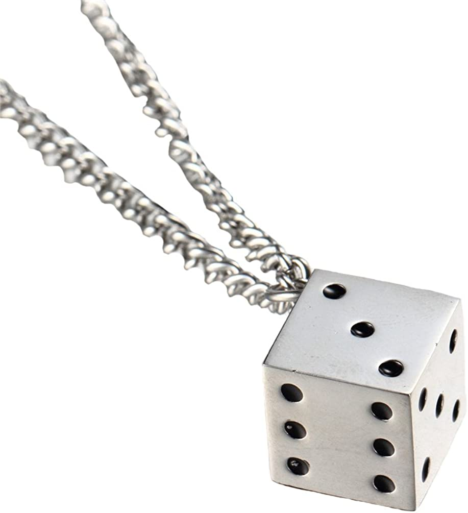 PAURO Stainless Steel Vintage Dice Mens Pendant with Chain Punk Biker Necklace for Lucky Wedding
