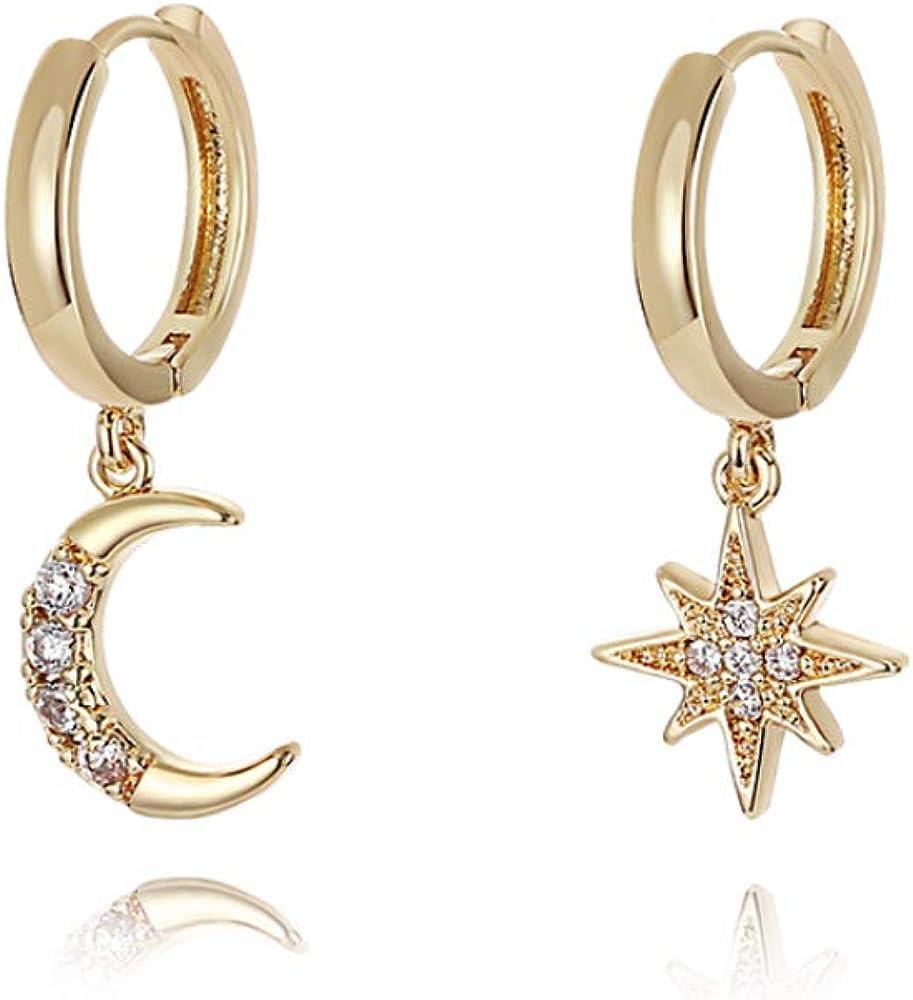 Personality Asymmetric Crystal Star Drop Earrings La Raffine Delicate Joker Moon Style Women Earrings Jewelry