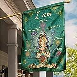 DONL9BAUER Yard Outdoor Dekoration Yoga Flagge, Meditation Girl, Hippie Bohemian Girl, doppelseitige Gartenflagge 30,5 x 45,7 cm, saisonales Banner für Terrasse Rasen Heimdekoration