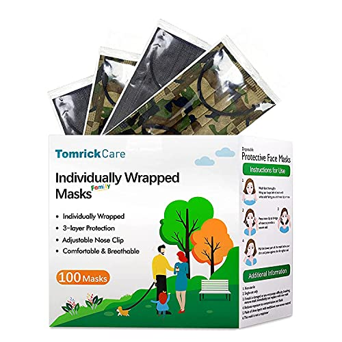 Adult and Kids Disposable Masks 100 PCS,Individually Wrapped,Black and Camo