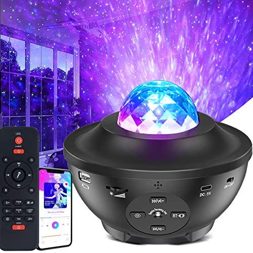 Musical Proyector Estrellas,10 Modos 21 colores Luces de Nocturna con Altavoz de música Bluetooth, Remoto & Temporización para el dormitorio de los niños/teatro en casa/fiesta/ambiente nocturno