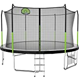AOTOB 14FT 15FT Trampoline with Safety Enclosure Net,Outdoor Trampoline with Basketball Hoop, Heavy Duty Jumping Mat and Spring Cover Padding for Kids and Adults, Storage Bag and Ladder