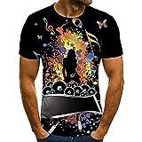 Camisetas Estampada 3D Verano Moda Camiseta de Manga Corta Impresa en para Hombre Cómodo Casual Tees Top con Cuello Redondo T Shirt Notas de la música Llama de Guitarra Multicolor S