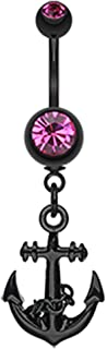 Belly Button Navel Curved Barbell Ring Blackline Classic Anchor Dangle Surgical Steel 14G