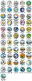 US Statehood Quarters COLORIZED Legal Tender 56-Coin Complete Set w/Capsules by Merrick Mint