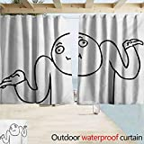 Humor Outdoor Curtain Panel for Patio Whatever Guy Meme Confusion Gesture Label Creative Drawing Rage Makers Design for Patio/Front Porch W72 xL63 Black and White