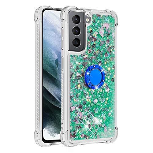Funda para Samsung Galaxy M31 con soporte para anillo, 3D Glitter Quicksand fluye líquido, brillante, transparente, de gel de TPU de silicona delgada a prueba de golpes, color verde