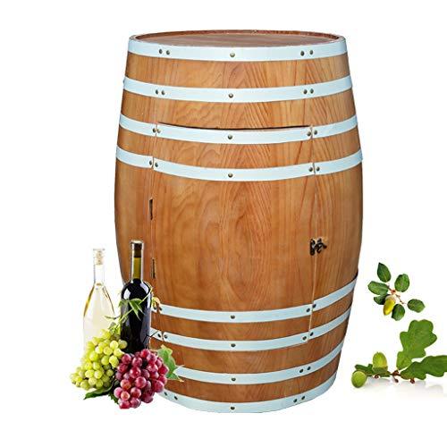 Wine Rack - Eiche mit Tür Weinfass Pflanzgefäße für draußen Flaschenlagerung Haushalt dekorativen Schrank (Farbe : Orange, größe : 80×58×46cm)