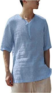 Men's Shirt Comfy Cool and Thin Breathable Collar Simple Solid Cotton Shirt Tops Blouse