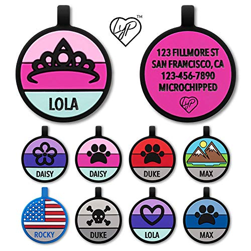 Love Your Pets Soundless Pet Tag - Designer Deep Engraved Silicone – Double Sided and Engraving Will Last - Many Design Choices of Pet ID Tags, Dog Tags, Cat Tags (Hot Pink, Princess)