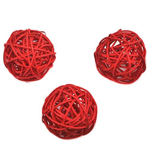 Ougual 10 Piezas Bolas de ratán Mimbre Mesa Boda Fiesta Navidad decoración 6cm Rojo