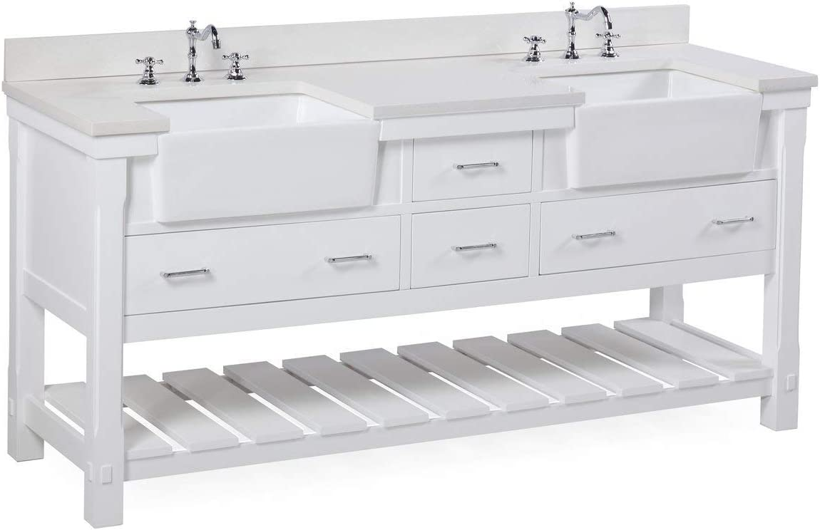 Amazon Com Charlotte 72 Inch Double Bathroom Vanity Quartz White Includes White Cabinet With Stunning Quartz Countertop And White Ceramic Farmhouse Apron Sinks Home Improvement
