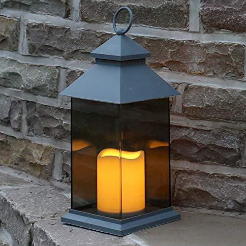 Festive Lights batteriebetriebene Außen/Innen Laterne mit rahmenloser Verglasung und Kerze mit täuschend echt wirkenden Flackereffekt, (Grau, H 31cm)