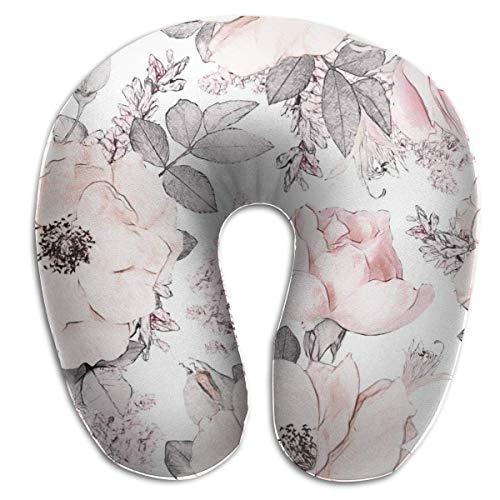 XCNGG Acuarela Flor Floral Rosa en Color Pastel Almohada para el Cuello en Forma de U Almohadas de Viaje Impresas Almohada para el Cuello del avión, Cubierta extraíble con Cremallera hipoalergénica
