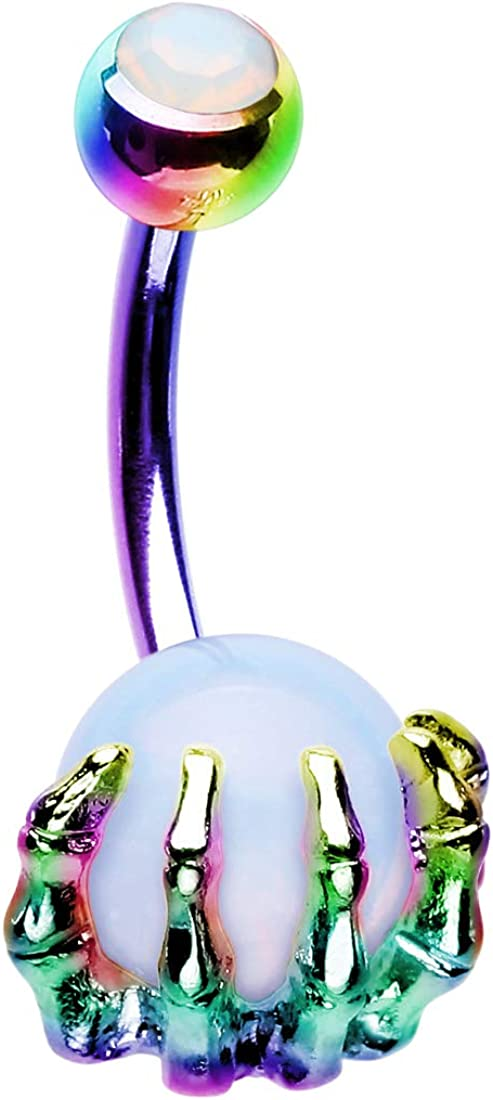 OUFER 14G Stainless Steel Navel Rings Skull Hand with Gem Ball Belly Button Rings Belly Rings Body Piercing