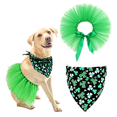 Maume St Patricks Day Dog Costume – St Patrick's Day Dog Bandana with Dog Skirt Adjustable Daily Pet Irish Clothes Comfortable Triangle Scarf for Small Large Dogs Cat Green Dress Clover Handkerchiefs