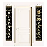 88th Birthday Door Banner, Cheers to 88 Years Party Decorations, Happy Birthday Party Porch Sign (Black Gold)