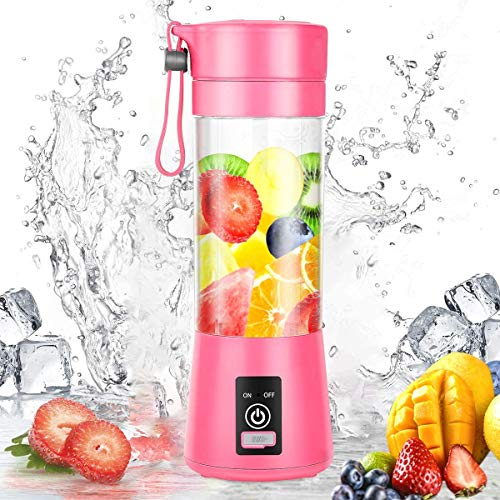 Portable Blender, Personal Mini Blender with 380ML for Smoothies and Shakes, USB Rechargeable Blender for Home, Kitchen, Office, Travel, Gym, Picnic (PINK)