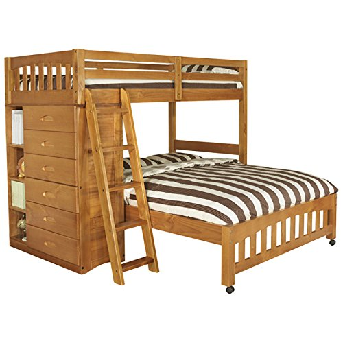 Discovery World Furniture Weston Twin over Full L-Shaped Bunk Bed with Bookshelves and Storage - Honey - Bedroom Furniture's - Modern Style - 20 Slats - Headboard - Shipping Within 5-7 Days - 1 Year Product Warranty