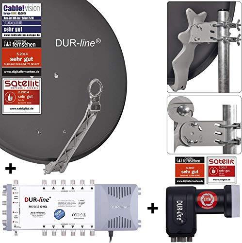 DUR-line 12 Teilnehmer Set - Qualitäts-Alu-Satelliten-Komplettanlage - Select 75cm/80cm Spiegel/Schüssel Anthrazit + Multischalter + LNB - für 12 Receiver/TV [Neuste Technik, DVB-S2, 4K, 3D]