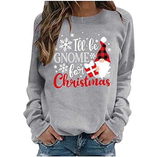 Honestyi Navidad Sudaderas Mujer Sin Capucha Tallas Grandes, Camisetas De Manga Larga con Estampado Cornamenta árbol de Navidad Sweatshirt Casual De Cuello Redondo Pullover Sueltos Otoño