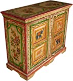 Guru-Shop Bemalte Kommode, Sideboard - Modell 3, Mehrfarbig, 80x100x40 cm, Kommoden & Sideboards