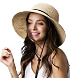 Womens Wide Brim Sun Hat with Wind Lanyard UPF Summer Sun Straw Hats for Women