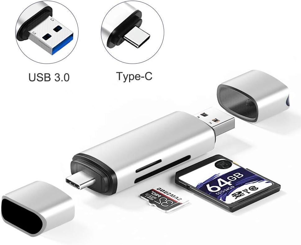Onvian Aluminum SD Card Reader USB 3.0 Type C OTG Memory Card Reader for SDXC, SDHC, SD, MMC, RS-MMC, Micro SD, TF, Micro SDXC, Micro SDHC, UHS-I Card