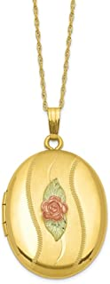 14k Yellow Gold Filled 12k Accents Black Hills Photo Pendant Charm Locket Chain Necklace That Holds Pictures Fine Jewelry Gifts For Women For Her