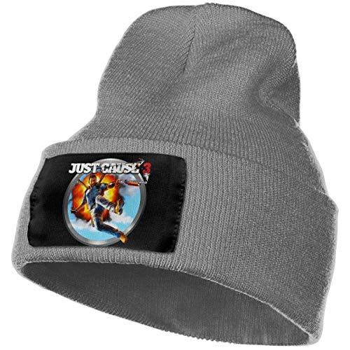 AOOEDM Hombres y mujeres Just Cause 3 Skull Beanie Sombreros Gorros de punto de invierno Sombrero de esquí suave y cálido Negro