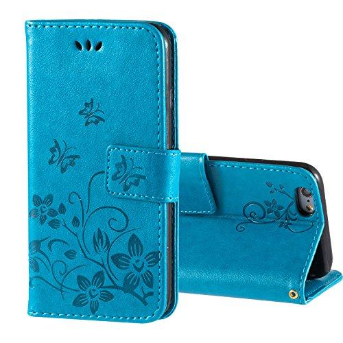 zoeview Funda para iPhone 6 6S 4.7'' Libro, Carcasa para iPhone 6S 6 Case de Piel PU Leather Cuero Atril con Tapa Estilo Libro Cartera Wallet,Azul (Mariposa)