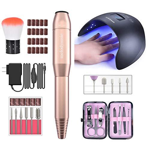 MelodySusie Electric Professional Nail Drill Machine11 in 1 Set with UV LED Nail Lamp 48W Nail Dryer for Gel Nail Polish, Professional Nail Curing Light for Manicure