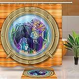 JoneAJ Barco Decorativo Cortina de Ducha Ventana de Buceo Perspectiva Pescado Marino Material Bio-Impermeable para Accesorios de baño sin Acolchado 71x71 Pulgadas con Alfombra de baño 40x60cm
