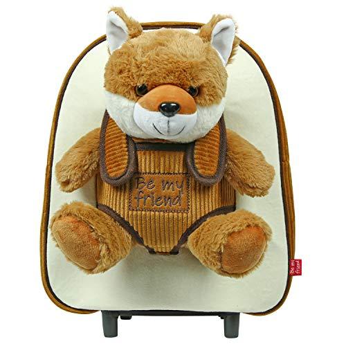 PERLETTI Plüschtier Kindergepäck Rucksack für Kinder - Kinderrucksack mit Abnehmbaren Rädern und Kuscheltier Spielzeug - Kindergarten Rollrucksack Kleinkinder 3 4 5 Jahren - 28x32x11 cm (Fuchs)