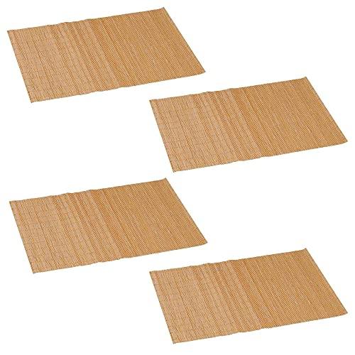 4er Set Bambus Platzmatten in Natur, braun oder schwarz | Tischsets | Platzsets | Unterlage | Platzdecken | Tischdecke | Tischmatten | Tischunterlage (braun)