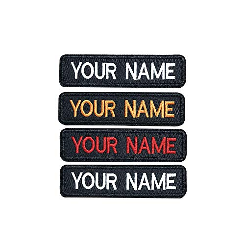 Brillianne Benutzerdefinierter gestickter Namensaufnäher, personalisiertes Stick-Namensschild für Motorrad-Biker-Abzeichen/Aufbügeln / 10x2,5 cm