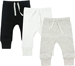 HonesBorn Baby 3 Pack Flexy Pants and Leggings, Infant Boys Girls Tapered Ankle 2 Pack Jogger Pants