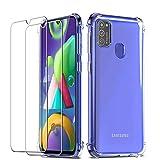 QHOHQ Cover per Samsung Galaxy M21 con 2 Pezzi Pellicola Protettiva, Silicone Morbido TPU...