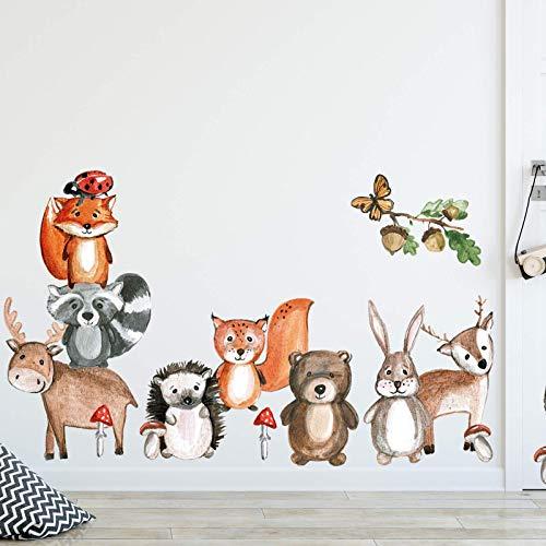 GRAZDesign Wandtattoo Waldtiere Kinderzimmer Babyzimmer als Set, Aquarell