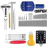 Kit d'outils de réparation de montre - Noir - Kit de 147 pièces - Barre à ressort - Lien - Pile de rechange - Avec étui de transport