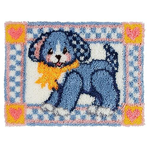Diy Latch Krok Kits Oavslutad Heksakta Rug Puppy Mönster Tryckt Virka Nålverk Hantverk För Barn Vuxna Nybörjare(Size:52x38cm)