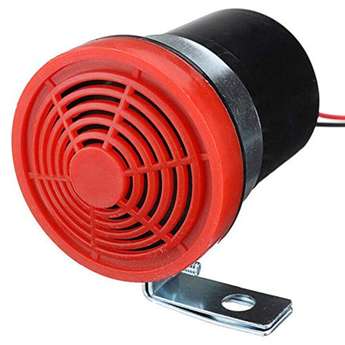 Ganquer 12-24V 105db Duradero Marcha Atrás Coche Alarma Marcha Atrás Aviso Amplificador Sirena Warn Alerta Acústica - Rojo, Free Size