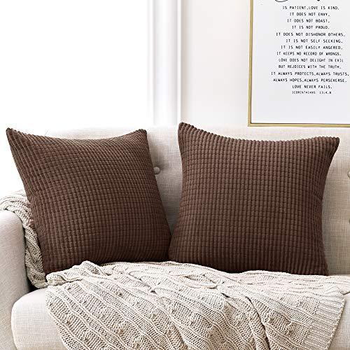 Deconovo Kissenbezüge Dekorative Kissenhülle Dekokissen Couchkissen mit Verstecktem Reißverschluss für Sofa Braun 50x50 cm 2er Set