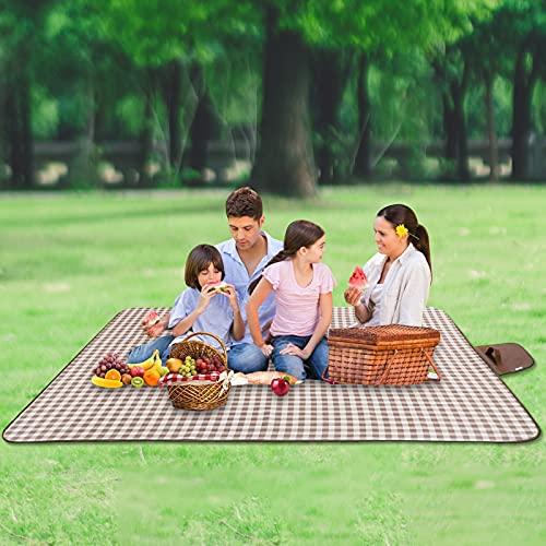Picknickdecke Wasserdicht 200 * 200cm Campingdecke Waschbar Outdoor Stranddecke Isoliert Sanddichte Picknick-Matte mit Tragegriff und Tasche Camping-Decke für Picknick Wandern Camping Strand Reisen