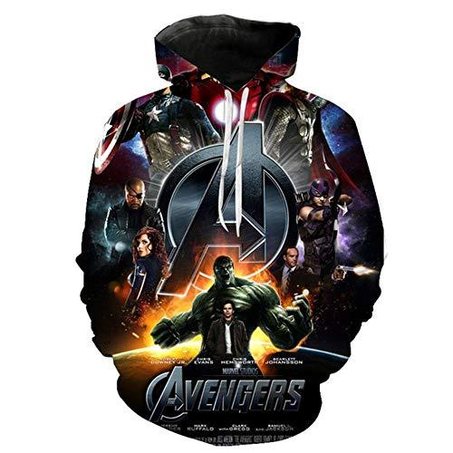 Hcxbb-16 Unisexe 3D Print Hoodie - Super-héros Iron Man Imprimer 3D Captain Thor Streetwear for Hommes Femmes Enfants Teenages (Color : E, Size : 3XL)