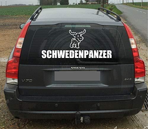 Pegatina Promotion Schwedenpanzer mit süßem Elch Lustiger Aufkleber für Lack oder Scheibe Autoaufkleber 90 cm für Volvo UV& Waschanlagenfest,Profi Qualität