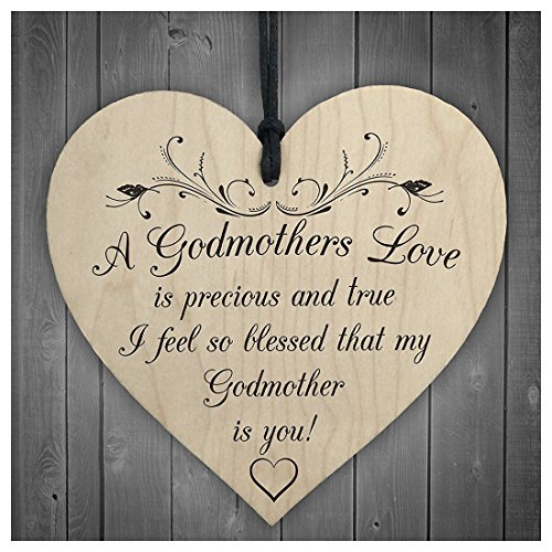 Balsokce Men Gift - Blessed With Godmothers Love Wooden Hanging Heart Plaque Sign Mothers Day Gift Present- Pendant Son Sign Mum Dress Gift Gift Baby Wood Signs Dress Day Swan Wood Men Gift Wi