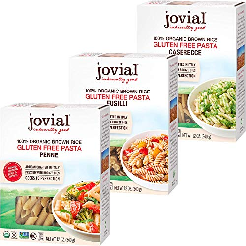 Jovial Penne Rigate Gluten-Free Pasta | Jovial Fusilli Gluten-Free Pasta | Jovial Caserecce Gluten-Free Pasta | Whole Grain Brown Rice Pasta | USDA Certified Organic | Made in Italy | 12 oz Each