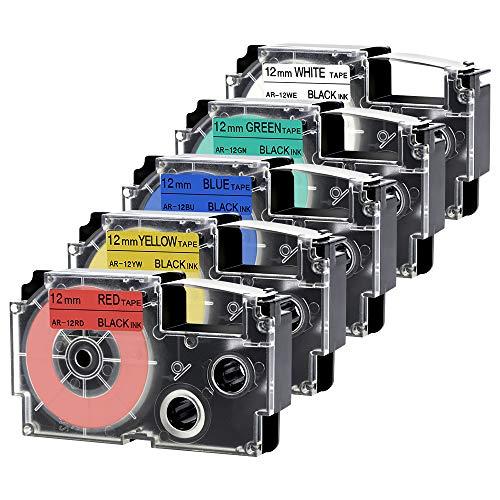 Invoker Kompatibel Schriftband Ersatz für Casio XR-12WE XR-12RD XR-12BU XR-12YW XR-12GN 12mm x 8m für Casio KL-60 KL-HD1 KL-100 KL-120 KL-130 KL-200 KL-300 KL-750 KL-780 KL-820 CW-L300 KL-430 KL-C500