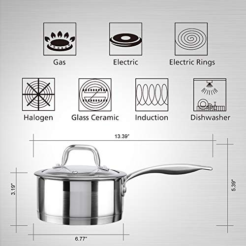Duxtop Professional Stainless Steel Sauce Pan with Lid, Kitchen Cookware, Induction Pot with Impact-bonded Base Technology, 1.6 Quart